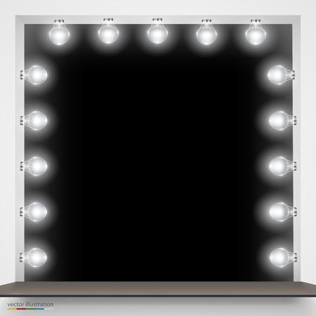 vistiendose: Ilustración del vector del espejo con bombillas para el maquillaje. Vectores