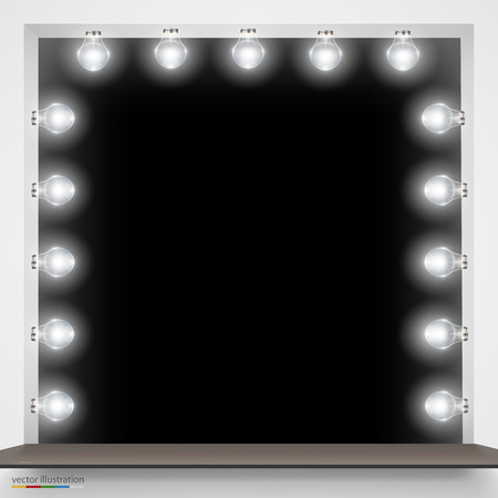 light room: Vector Illustration of mirror with bulbs for makeup.