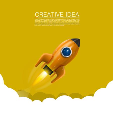 booster: Cohete de espacio lanzamiento arte creativo. Ilustraci�n vectorial