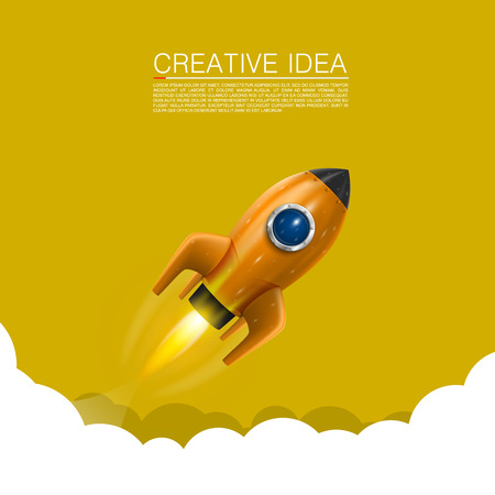 Space rocket launch art creative. Vector illustration Imagens - 35798960