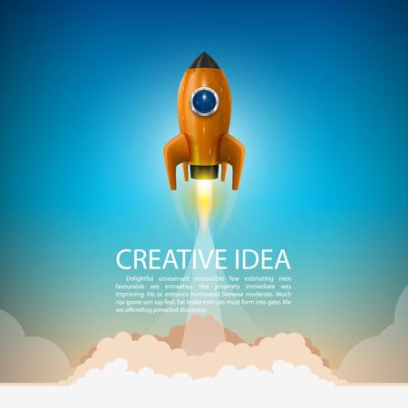 cohetes: Cohete de espacio lanzamiento arte creativo. Ilustraci�n vectorial