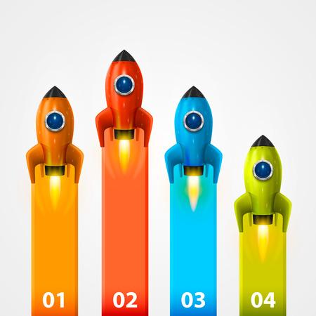 Cohete de espacio info lanzamiento arte. Ilustración vectorial