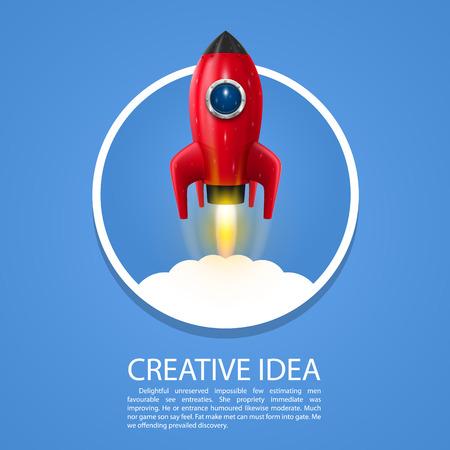 우주 로켓 발사는 창조적 인 예술. 벡터 일러스트 레이 션