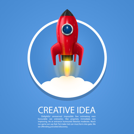 booster: Space rocket launch art creative. Vector illustration