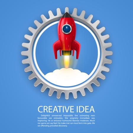 liftoff: Space rocket launch art cogwheel. Vector illustration