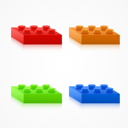 edutainment: Isometric Colorful Plastic Building Blocks. Vector illustratiob