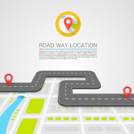 carte: Chemin pavé sur l'art de la route. Vecteur de fond