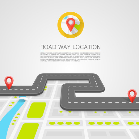 travel map: Paved path on the road art. Vector background Illustration