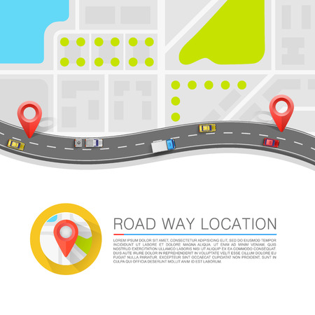 Paved path on the road art. Vector background Çizim