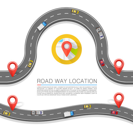 ways: Paved path on the road art. Vector background Illustration