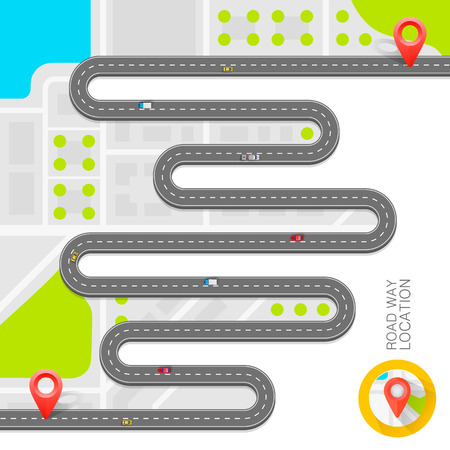 Paved path on the road art. Vector background Illustration