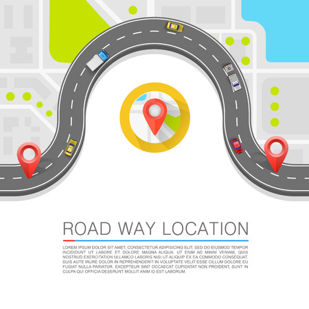 winding: Paved path on the road art. Vector background Illustration