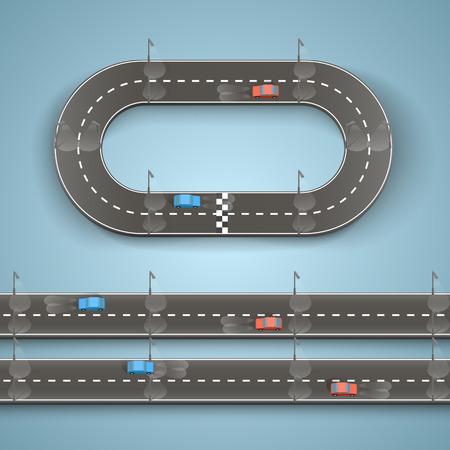 huellas de neumaticos: Competir en el arte carretera. Ilustraci�n vectorial
