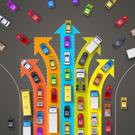 chofer de autobus: atasco de tráfico con flechas direccionales. Ilustración vectorial Vectores