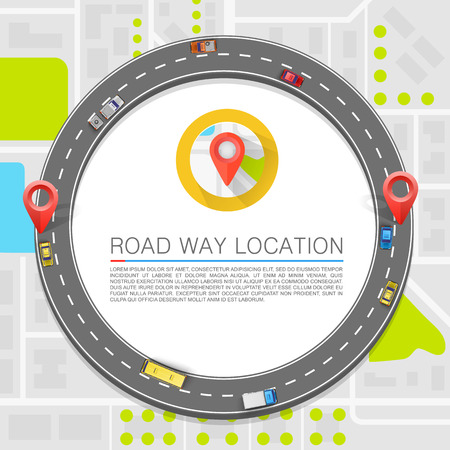 transportation: Chemin pavé sur l'art de la route. Vecteur de fond