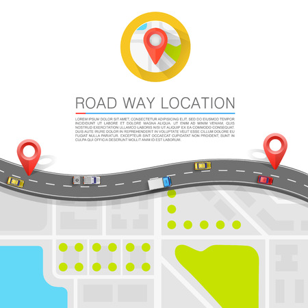 cab: Camino pavimentado en el arte carretera. Vector de fondo