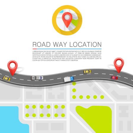 route: Chemin pav� sur l'art de la route. Vecteur de fond