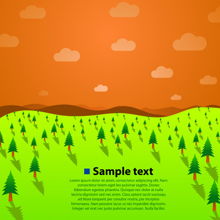 green hills: Landscape with green trees, hills and sky. Vector illustration