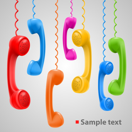 telephone cable: Hanging colored handsets art phone. Vector Illustration Illustration