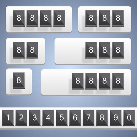tableau: Numeric scoreboard art frame counter. Vector illustration