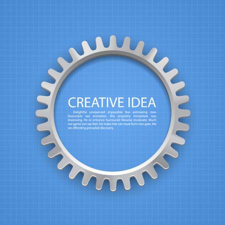 internally: Engineering gear on paper art. Vector illustration