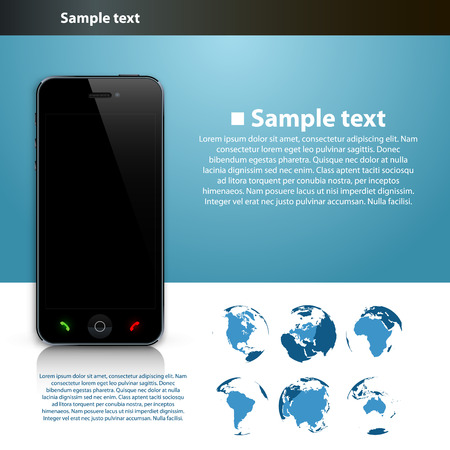 cell phone icon: Presentation of the global number. Vector illustration