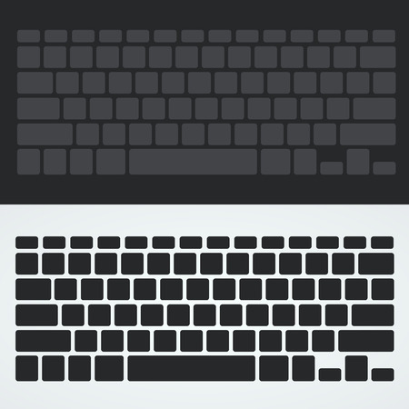 computerized: Silhouette keyboard art button set. Vector illustration