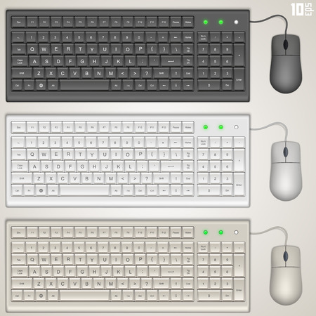 Keyboard and mouse art set. Vector illustration