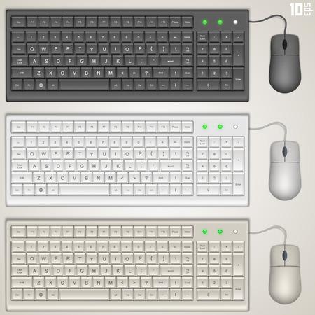 Keyboard and mouse art set. Vector illustration