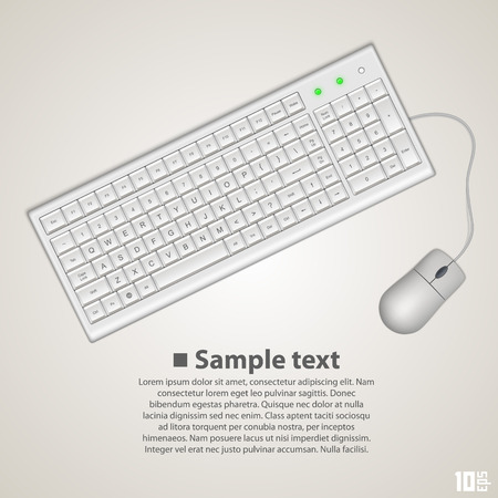 computerized: Keyboard and mouse art banner. Vector illustration