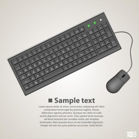 keyboard instrument: Keyboard and mouse art banner. Vector illustration