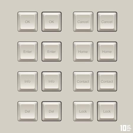 typer: Keyboard keys vector set art. Vector illustration