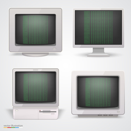 Set of retro computers. Vector illustration 10eps Illustration