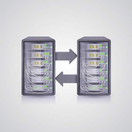 datacenter: Data transmission through the server. Vector illustration art