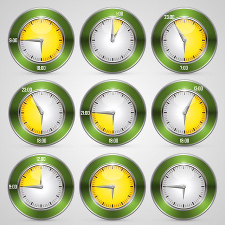 second meal: Clock with time stamp art set. Vector illustration