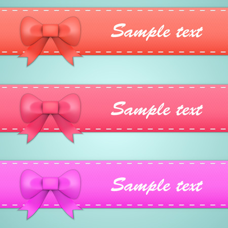 tails: colored ribbons with bows and tails. Vector illustration