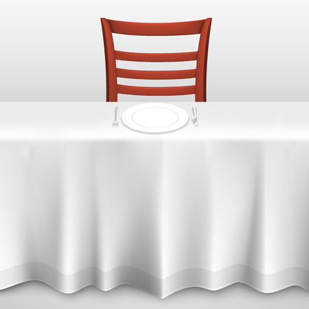 10eps: Table with a tablecloth and chair. illustration art 10eps Illustration