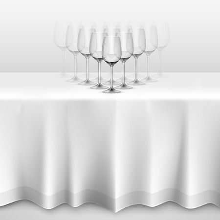 Table with a tablecloth glasses. illustration art 10eps