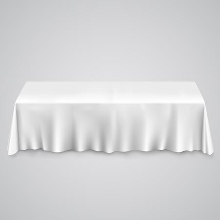 mesa con mantel mesa con mantel blanco eps ilustracin de arte