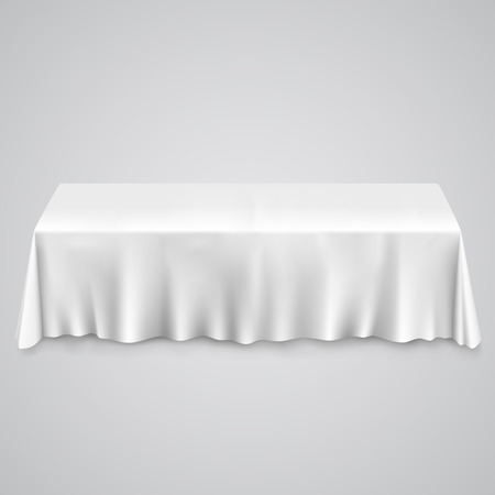 Table with tablecloth white. illustration art 10eps Vectores