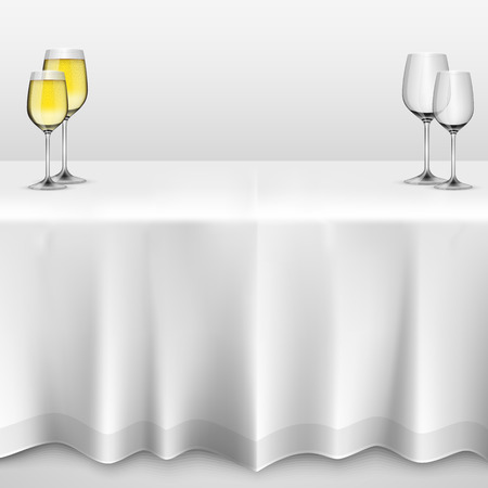 banquet table: Table with a tablecloth glasses. illustration art 10eps