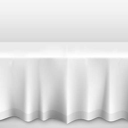 Tisch mit Tischdecke Kunst-Banner. Vektor-Illustration