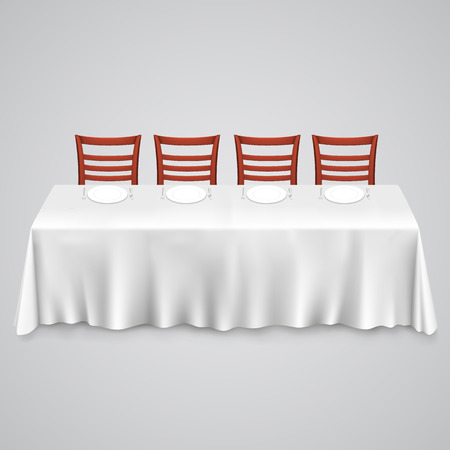 Table with a tablecloth and chair. illustration art 10eps Vettoriali