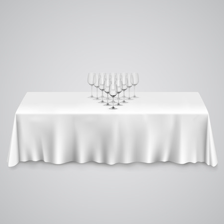 10eps: Table with a tablecloth glasses. illustration art 10eps