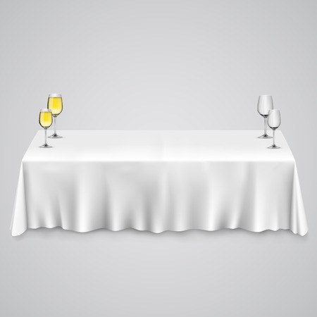 clean dishes: Table with a tablecloth glasses. illustration art 10eps