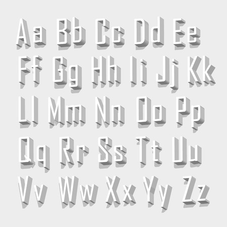 3d alphabet letter abc: Font 3d set letter art. Vector Illustration