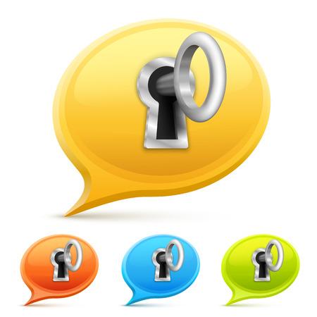 Key for a chat set art. Vector illustration