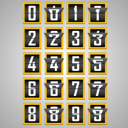 reversible: Numbers from Mechanical Scoreboard Alphabet. Vector illustration