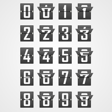 Numbers from Mechanical Scoreboard Alphabet. Vector illustration