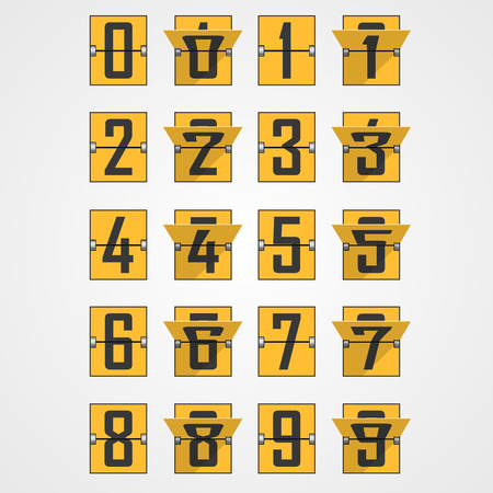 tableau: Numbers from Mechanical Scoreboard Alphabet. Vector illustration